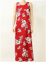Pacific Legend White Hibiscus Red Cotton Hawaiian Tank Long Dress