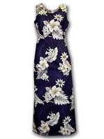 Pacific Legend Hibiscus Navy Cotton Hawaiian Tank Long Dress