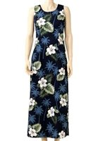 Pacific Legend Hibiscus Monstera Navy Cotton Hawaiian Tank Long Dress