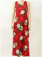 Pacific Legend Hibiscus Monstera Red Cotton Hawaiian Tank Long Dress
