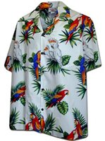 Pacific Legend Parrot  White Cotton Men's Hawaiian Shirt