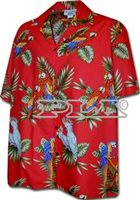 Pacific Legend Parrot  Red Cotton Men's Hawaiian Shirt