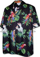 Pacific Legend Parrot  Black Cotton Men's Hawaiian Shirt