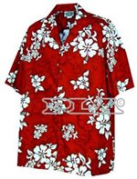 Pacific Legend White Hibiscus Red Cotton Men's Hawaiian Shirt