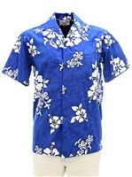 Pacific Legend White Hibiscus Blue Cotton Men's Hawaiian Shirt