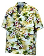 Pacific Legend Diamond Head Maize Cotton Men's Hawaiian Shirt
