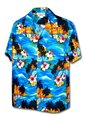 Pacific Legend Sunset Blue Cotton Men's Hawaiian Shirt