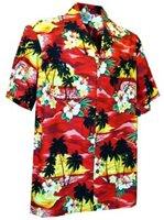 Pacific Legend Sunset Red Cotton Men's Hawaiian Shirt