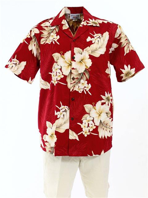 Pacific Legend Hibiscus Red Cotton Men's Hawaiian Shirt