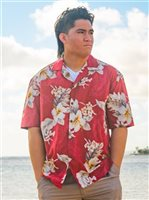 Pacific Legend Hibiscus Red Cotton Men's Hawaiian Shirt