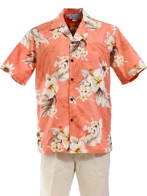 Hibiscus Peach Cotton Men's Hawaiian Shirt