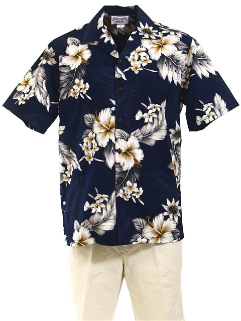 33ab10edbf90f Pacific Legend Hibiscus Navy Cotton Men s Hawaiian Shirt