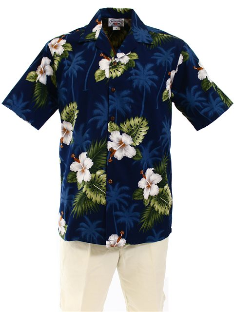 645433cdc71f Pacific Legend Hibiscus Monstera Navy Cotton Men's Hawaiian Shirt ...