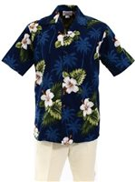 Pacific Legend Hibiscus Monstera Navy Cotton Men's Hawaiian Shirt