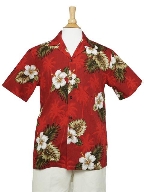 bb679a05b Pacific Legend Hibiscus Monstera Red Cotton Men's Hawaiian Shirt |  AlohaOutlet