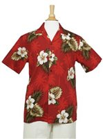 Pacific Legend Hibiscus Monstera Red Cotton Men's Hawaiian Shirt