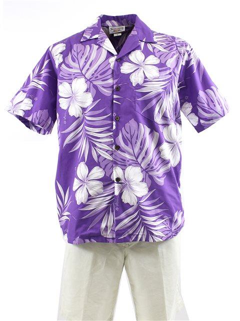 c24417ae Pacific Legend Hibiscus & Monstera Purple Cotton Men's Hawaiian ...