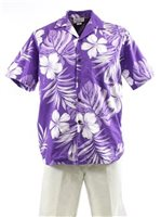 Pacific Legend Hibiscus & Monstera Purple Cotton Men's Hawaiian Shirt