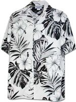 Pacific Legend Hibiscus & Monstera White Cotton Men's Hawaiian Shirt
