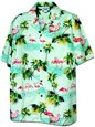 Pacific Legend Flamingos Sage Cotton Men's Hawaiian Shirt