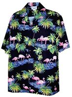 Pacific Legend Flamingos Black Cotton Men's Hawaiian Shirt