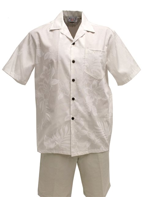 Pacific Legend White on White Cotton Men's Hawaiian Shirt