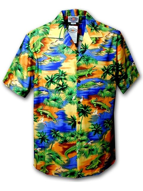 17228744 Pacific Legend Crocodile/Blue Men's Hawaiian Shirt | AlohaOutlet