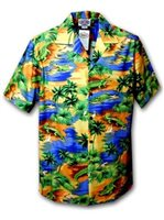Pacific Legend Crocodile/Blue Men's Hawaiian Shirt