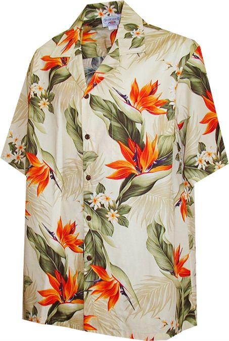 Bird of Paradise Cream Cotton Men's Hawaiian Shirt