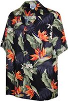 Pacific Legend Bird of Paradise Black Cotton Men's Hawaiian Shirt