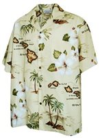 Pacific Legend Island Chain Khaki Cotton Men's Hawaiian Shirt