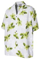 Pacific Legend Plumeria Lime Cotton Men's Hawaiian Shirt