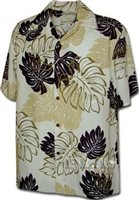 Pacific Legend Monstera Cream Rayon Men's Hawaiian Shirt