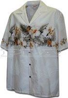 Pacific Legend Hibiscus White Cotton Men's Border Hawaiian Shirt