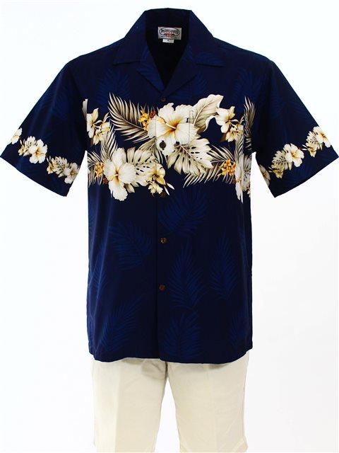6d1641f2f1535 Pacific Legend Hibiscus Navy Cotton Men s Border Hawaiian Shirt ...