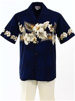 Pacific Legend Hibiscus Navy Cotton Men's Border Hawaiian Shirt