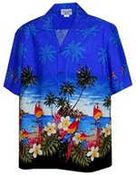 Pacific Legend Parrot  Blue Cotton Men's Border Hawaiian Shirt