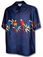 Pacific Legend Parrot  Navy Cotton Men's Border Hawaiian Shirt