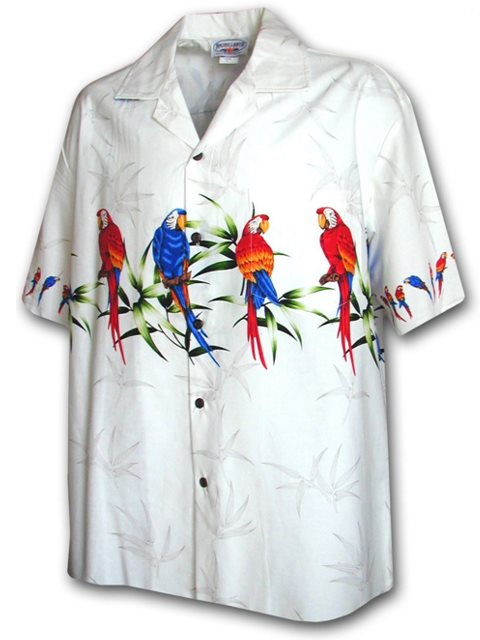 Parrot  White Cotton Men's Border Hawaiian Shirt