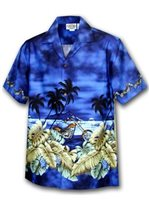 Pacific Legend Motorcycle Navy Cotton Men's Border Hawaiian Shirt