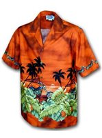 Pacific Legend Motorcycle Rust Cotton Men's Border Hawaiian Shirt