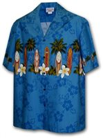 Pacific Legend Surfboard/Blue Men's Hawaiian Border Shirt