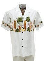 Pacific Legend Surfboard White Cotton Men's Border Hawaiian Shirt
