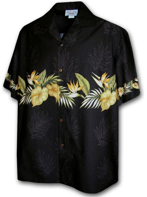 Anthurium Black Cotton Men's Border Hawaiian Shirt