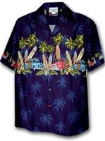 Pacific Legend Surfboard Navy Cotton Men's Hawaiian Shirt