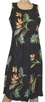 Paradise Found Bamboo Paradise Black Rayon Hawaiian A-Line Tank Short Dress