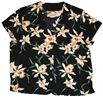 Paradise Found Star Orchid Black Rayon Women's V-neck Blouse