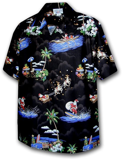 071dbcb12 Pacific Legend Surfing Santa Black Cotton Men's Hawaiian Shirt ...