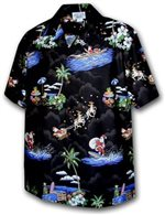Pacific Legend Surfing Santa Black Cotton Men's Hawaiian Shirt