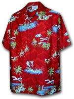 Pacific Legend Surfing Santa/Red Men's Hawaiian Shirt